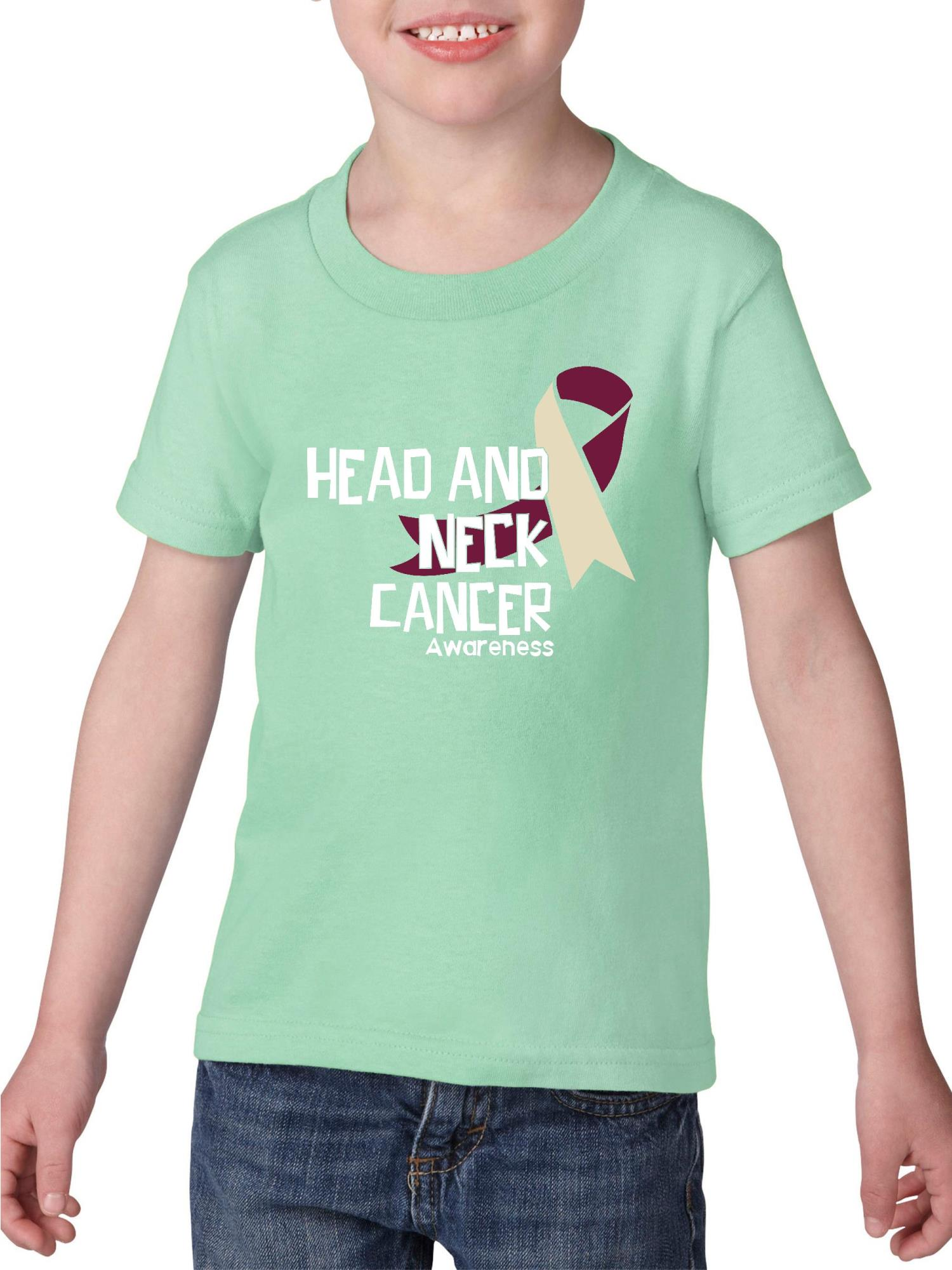 Head and Neck Cancer Awareness Heavy Cotton Toddler Kids T-Shirt Tee Clothing
