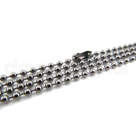 5 Pack - CleverDelights Ball Chain Necklaces - Gunmetal Color - 24