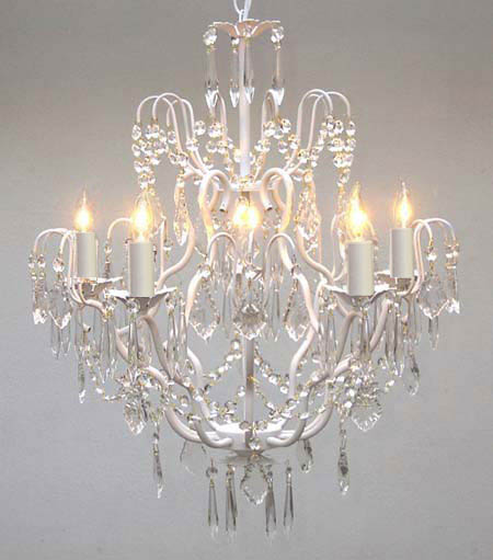 """White Wrought Iron Crystal Chandelier Lighting H27"""" x W21"""" by"""