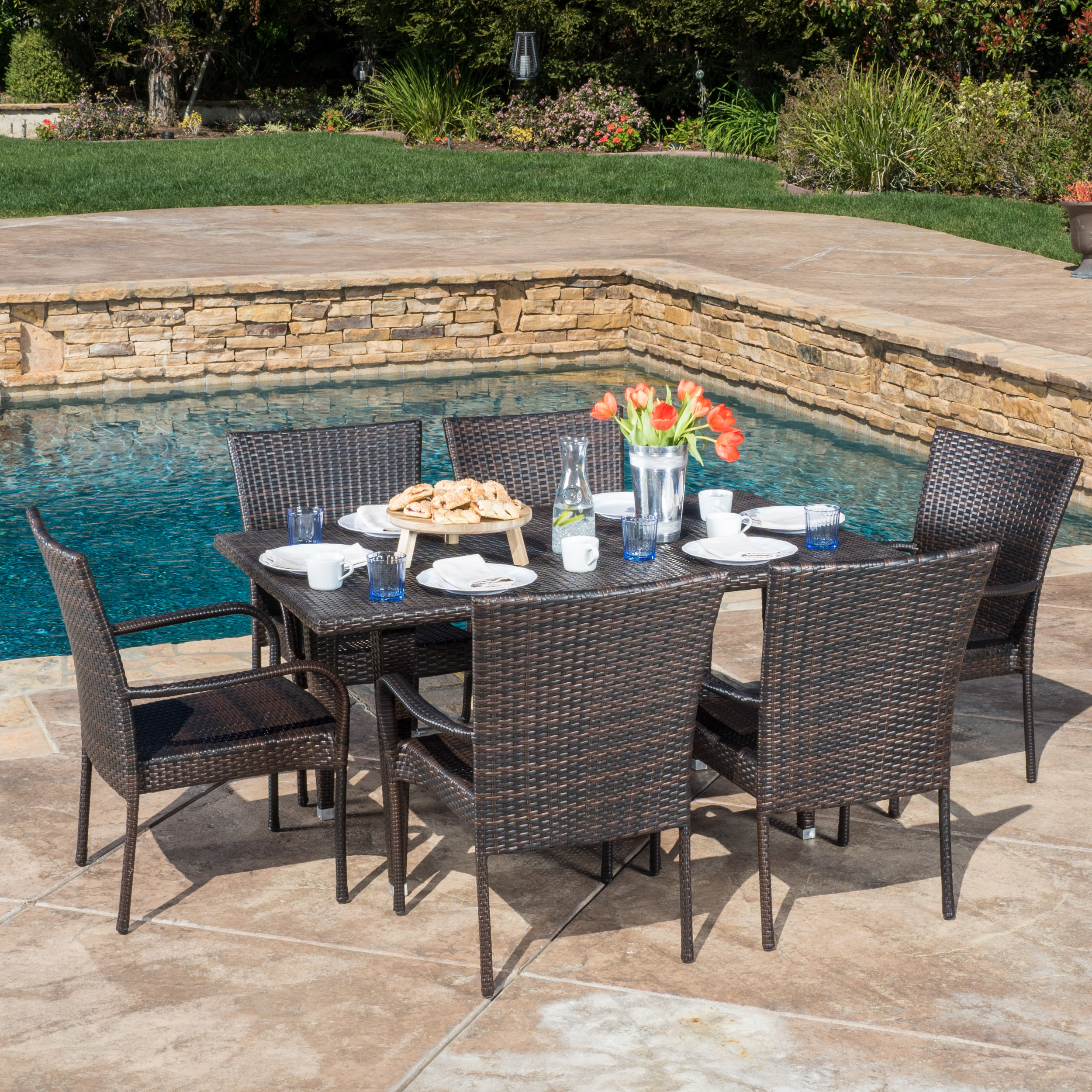 Noble House Brow Outdoor Wicker 7 Piece Dining Set