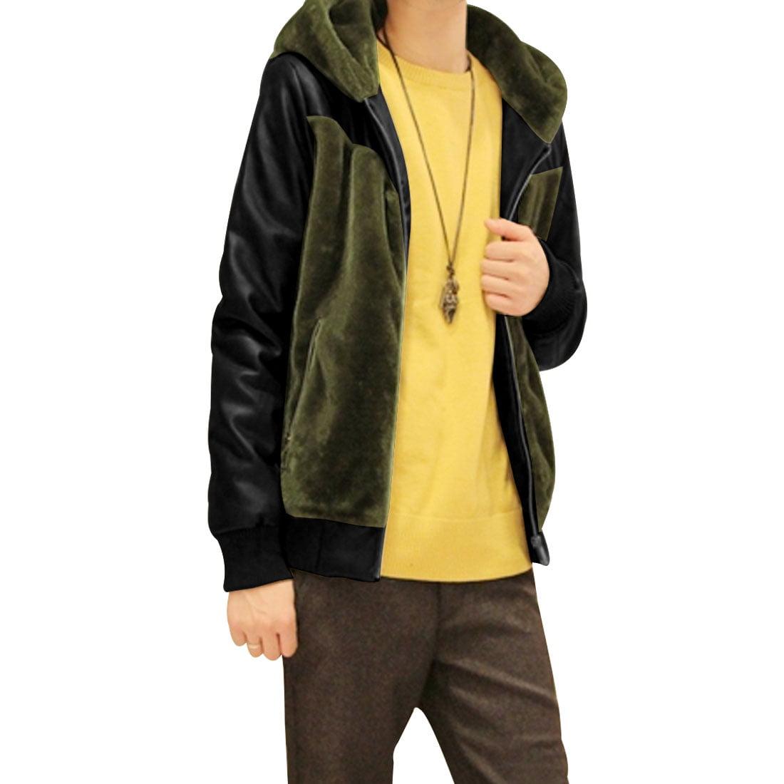 Man Korean Style Trendy Faux Leather Panel Jacket Dark Gr...