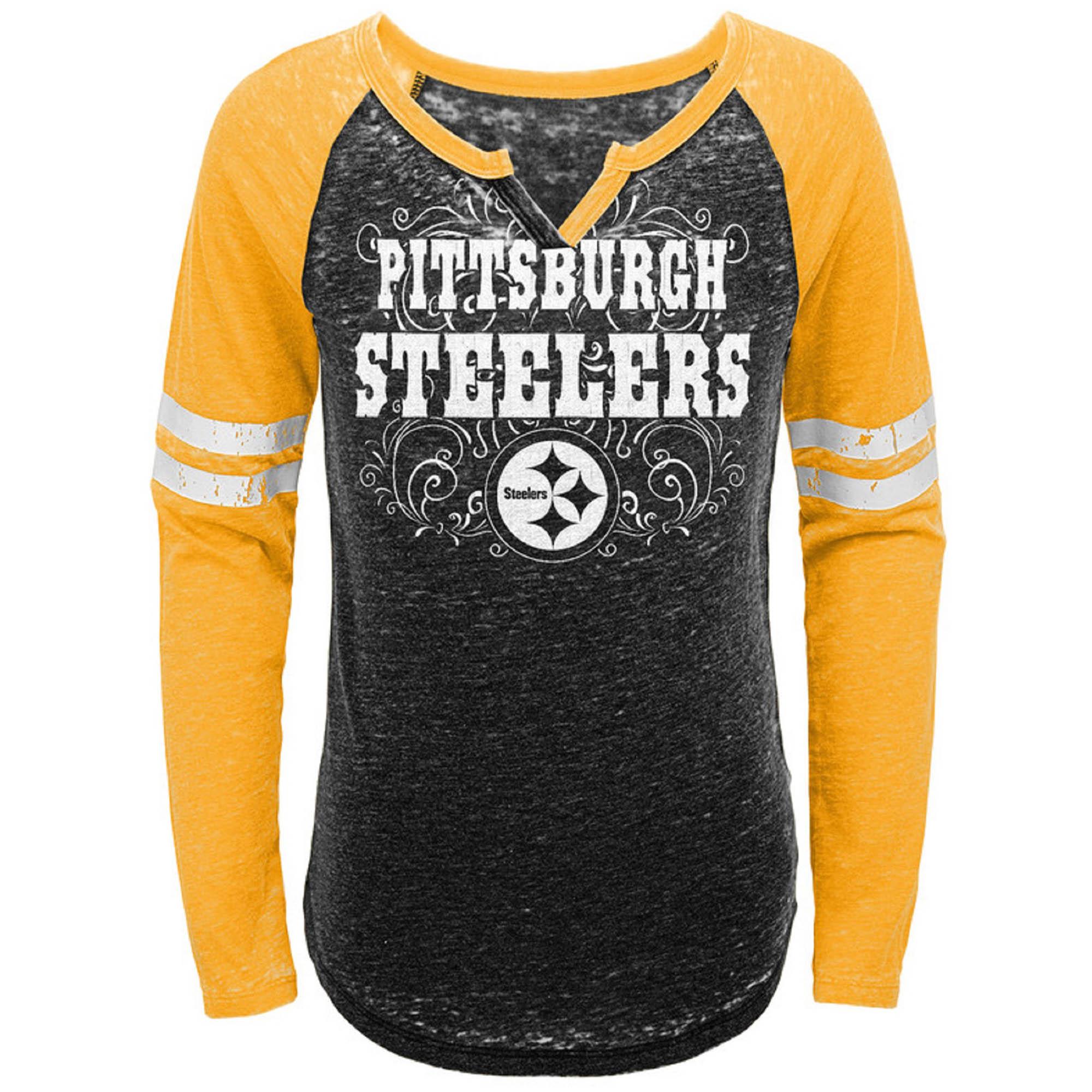 Girls Youth Black/Gold Pittsburgh Steelers Burnout Long Sleeve V-Notch T-Shirt