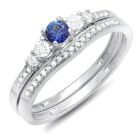 Dazzlingrock Collection 14k Round Blue Sapphire And White Diamond Ladies 5 Stone Bridal Engagement Ring Matching Band Set, White Gold, Size 6