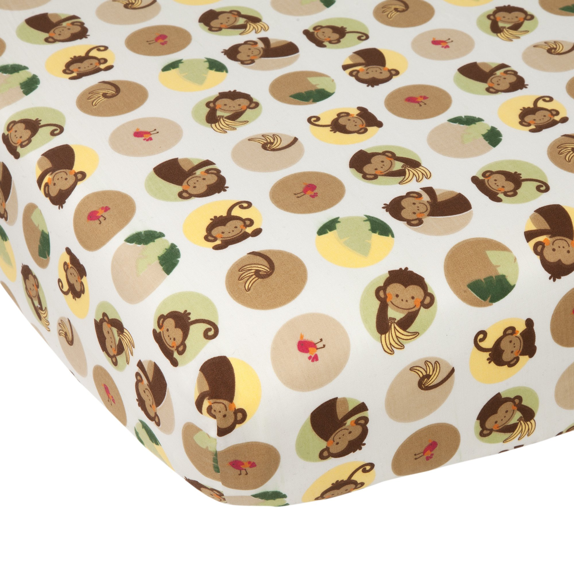 Lambs & Ivy Tickles White/Brown/Green Monkey Baby Fitted Crib Sheet
