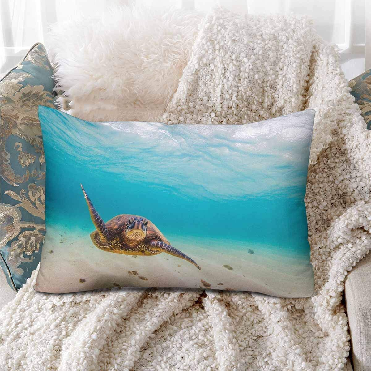 GCKG Hawaii Sea Turtle Fish Underwater Ocean Wave Beach Green Pillow Cases Pillowcase 20x30 inches - image 1 of 4