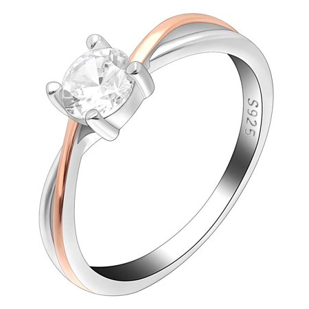 Cabrina Collection (Ginger Lyne Collection Carina Two Tone Rose Gold Over Sterling Silver CZ Engagement Wedding Bridal Ring)