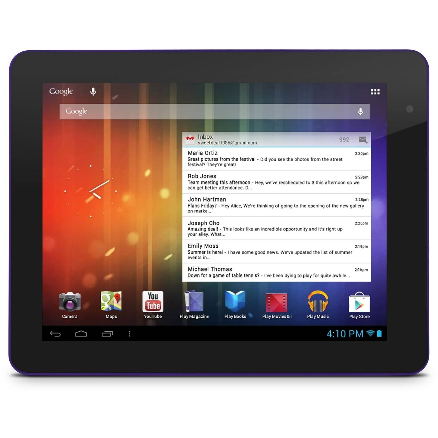 """Ematic EGS108 8"""" Genesis Prime Multi-Touch Tablet, 4GB, Android 4.1, Purple"""