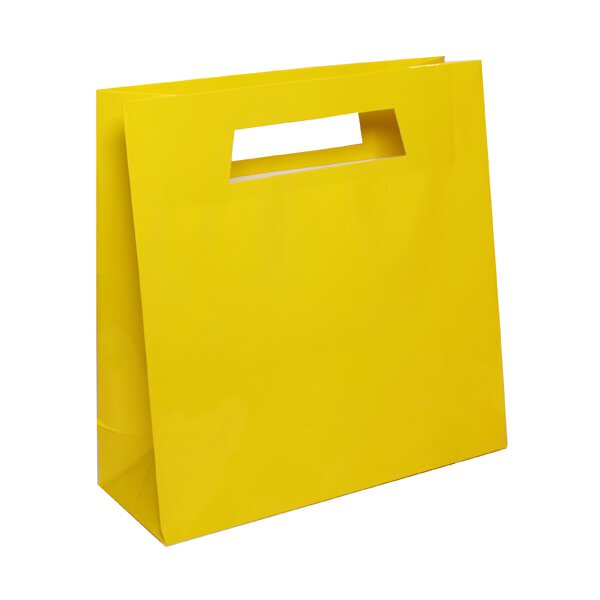 JAM Paper Heavy Duty Glossy Die Cut Bags with Rectangular Handle, 15 x 15 x 5 1/2, Yellow, 100/pack