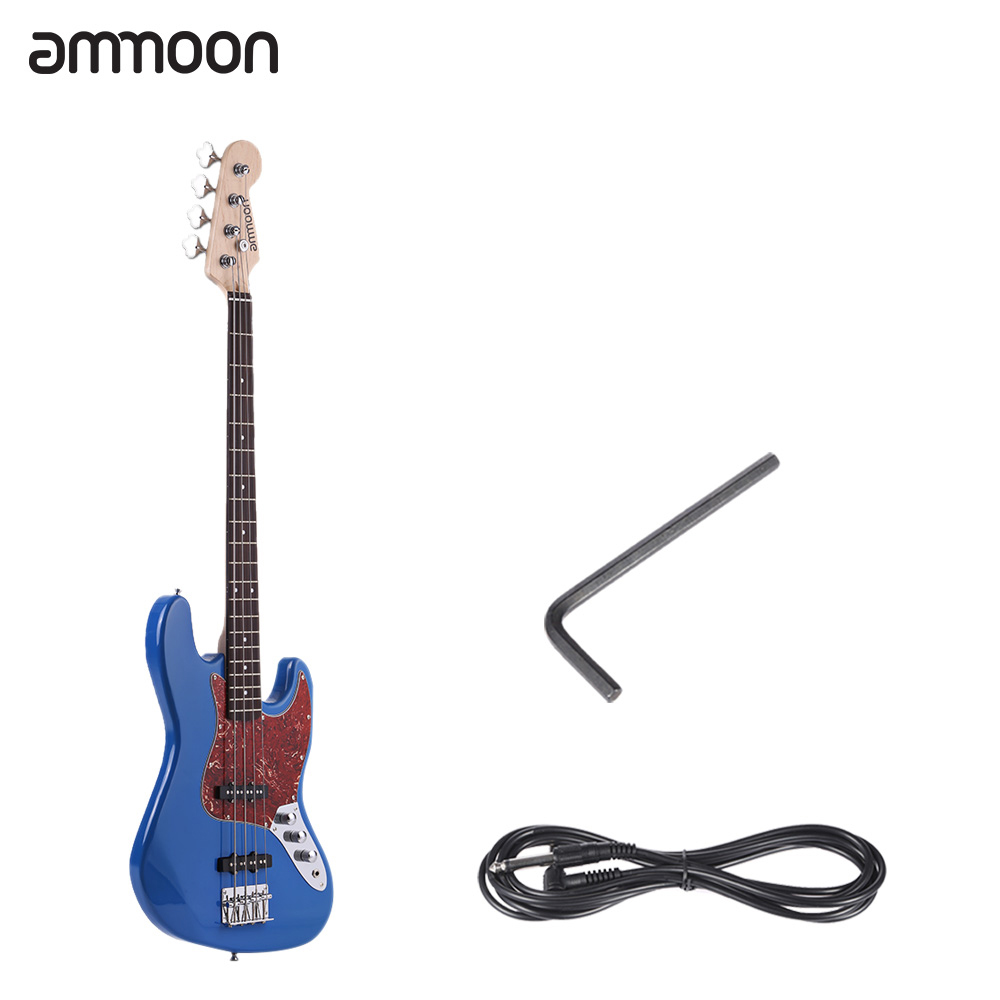 "ammoon 47"" Solid Wood 4 String JB Electric Bass Guitar 21 Frets with 6.35mm Cable Wrench"