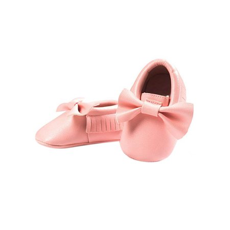 BOBORA Newborn Baby Soft Sole Leather Crib Shoes Anti-slip Prewalker 0-18