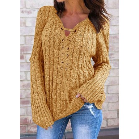 Women Long Sleeve Lace Up Sweater Pure Color Knitted Tops