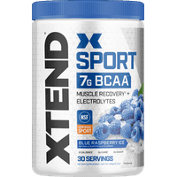 Xtend Sport BCAA Powder, Branched Chain Amino Acids, NSF Certified for Sport + Sugar Free Post Workout Muscle Recovery Drink with Amino Acids, Blue Raspberry, 30 Servings