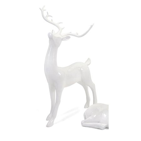 Playful Reindeer- White (antlers KD)-Standing (Reindeer Antlers For Horses)