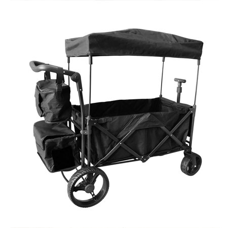 Wide Colour Enhancer - BLACK OUTDOOR PUSH FOLDABLE WAGON CANOPY UTILITY TRAVEL CART WIDE TIRES BRAKE