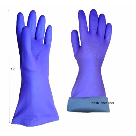 - PU rubber Wash Cleaning Gloves, plush lined Short sleeve Blue (3 pairs pack)