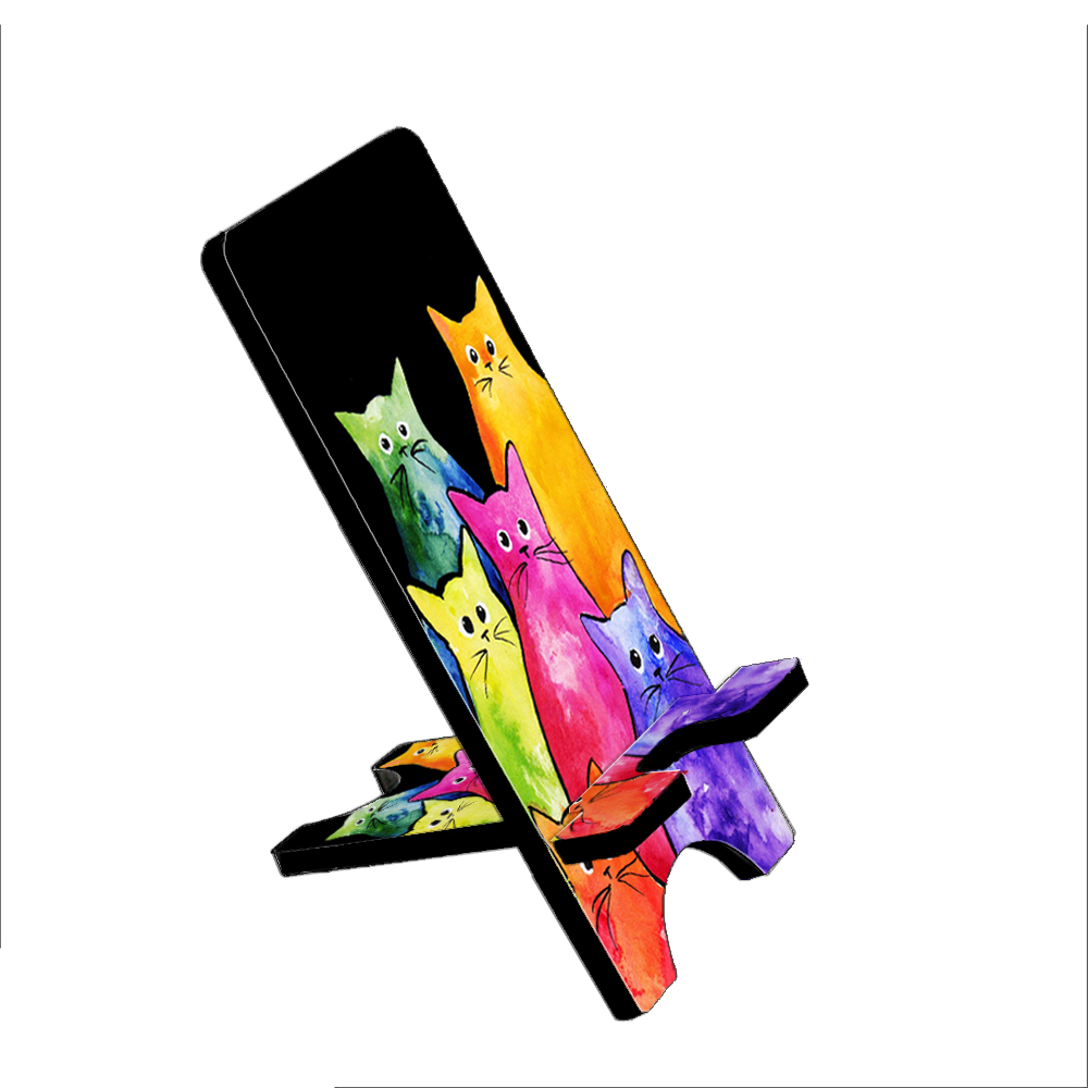 Colorful Tie-Dyed Kitties Art by Denise Every - KuzmarK Folding Stand fits iPad Mini iPhone Samsung Galaxy