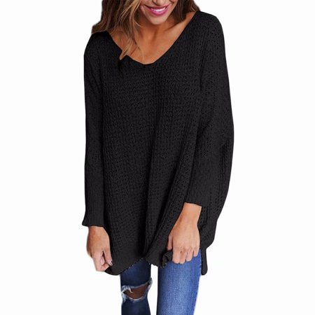 Akoyovwerve - Womens Casual Long Sleeve Knitted Sweater V Neck Pullover  Loose Top Sweater 3373977ea
