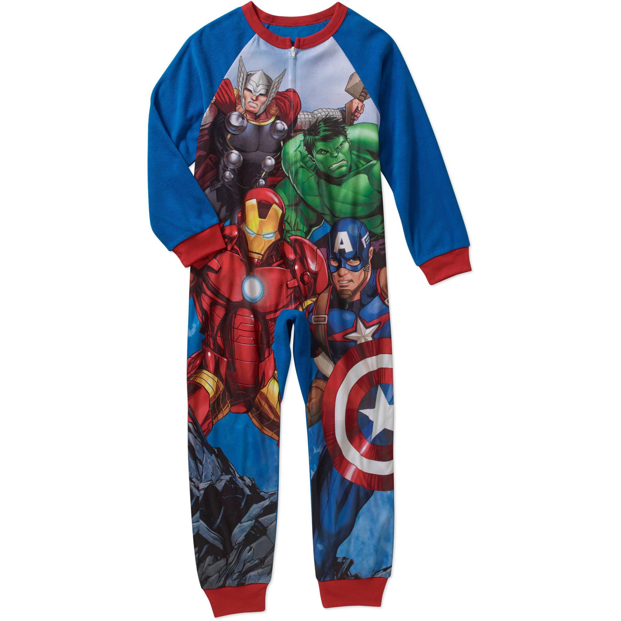 Marvel Avengers Captain America Size 12 Hooded Fleece Pajama Sleeper Sleepwear Robes Clothing