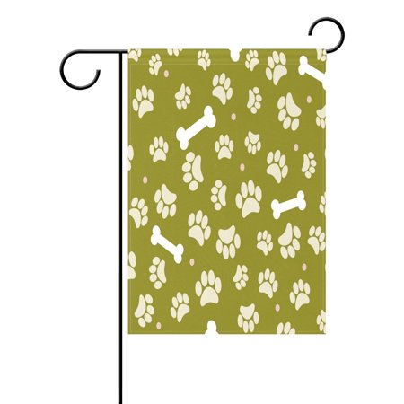 Image of POPCreation Puppy Dog Paw Print Bone Garden Flag Outdoor Flag Home Party 12x18 inches