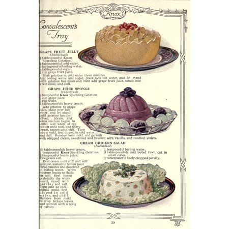 Dainty Deserts For Dainty People C1915 Grapefruit Jelly Grape Juice Sponge   Cream Chicken Salad Poster Print