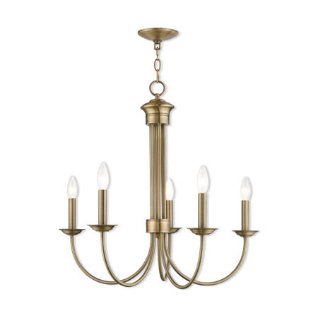 Chandeliers 5 Light With Antique Brass Candelabra 25 inch 300 Watts - World of Crystal
