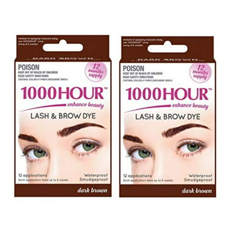 Combo Pack! 1000 Hour Eyelash & Brow Dye / Tint Kit Permanent Mascara (Dark  Brown & Dark Brown)