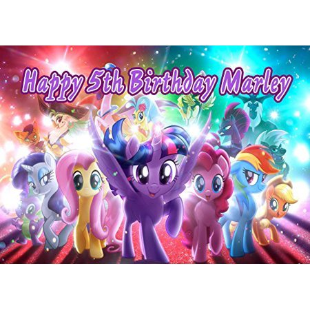 MY LITTLE PONY Edible Cake Topper Personalized Birthday 1 4 Sheet Decoration Custom Frosting Transfer Fondant Image For