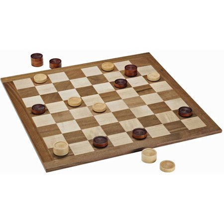 Classic Checkers Set, Dark Brown and Natural Pieces with Solid Wood Board, (Solid Wood Checkers)