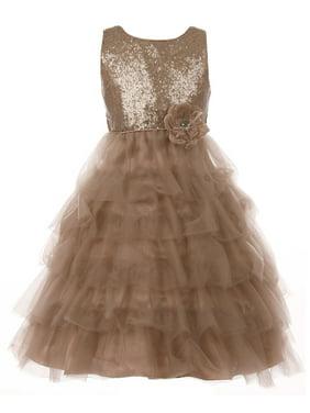 Little Girls Elegant Sequin Tulle Cascade Pageant Wedding Flower Girl Dress Copper 2 (C50C63C)