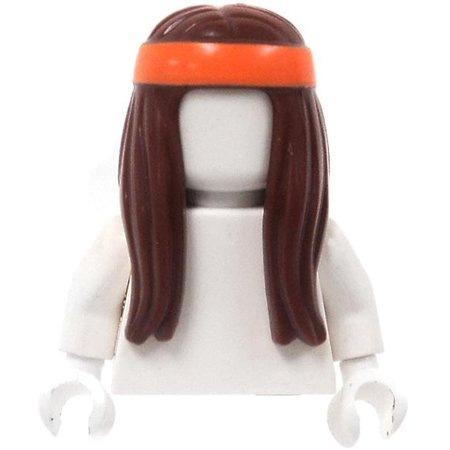 Orange Brown Bands (LEGO Long Brown Hair with Orange Headband Loose Hair)