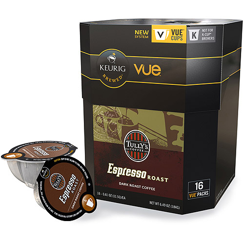 Keurig Vue Pack Tully's Coffee Espresso Roast Coffee Single-Serve, 16ct