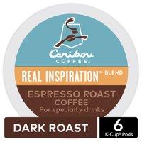 Caribou Coffee Real Inspiration Espresso Roast, Keurig K-Cup Pods, Medium Roast, 6 Count