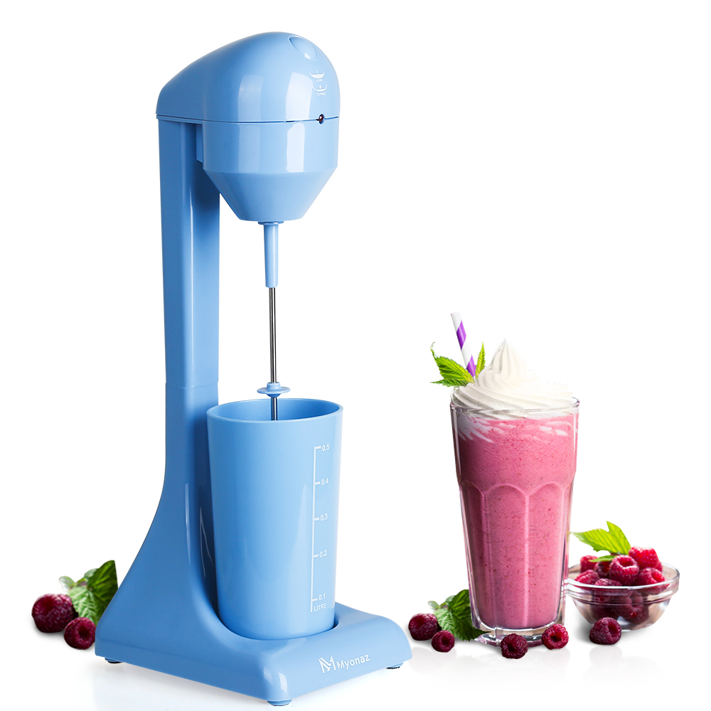 MYONAZ Electric Milkshake Maker 2 Speed Switch Plastic Drink Mixer 120V (Blue)