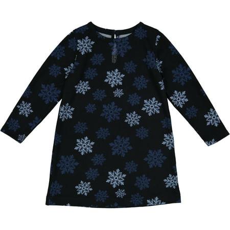 Newborn Baby Girl Navy Snowflake Knit Shift Dress