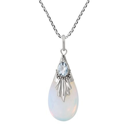 Blue Moonstone - Classy Moonstone Teardrop Blue Sterling Silver Necklace