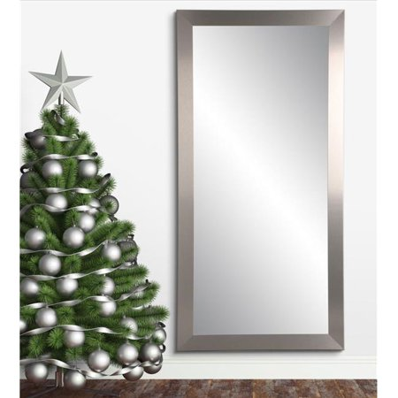 BrandtWorks Industrial Modern Home Accent Floor Mirror 32 x 66 in.  BM078TS Floor Length Ruched Satin