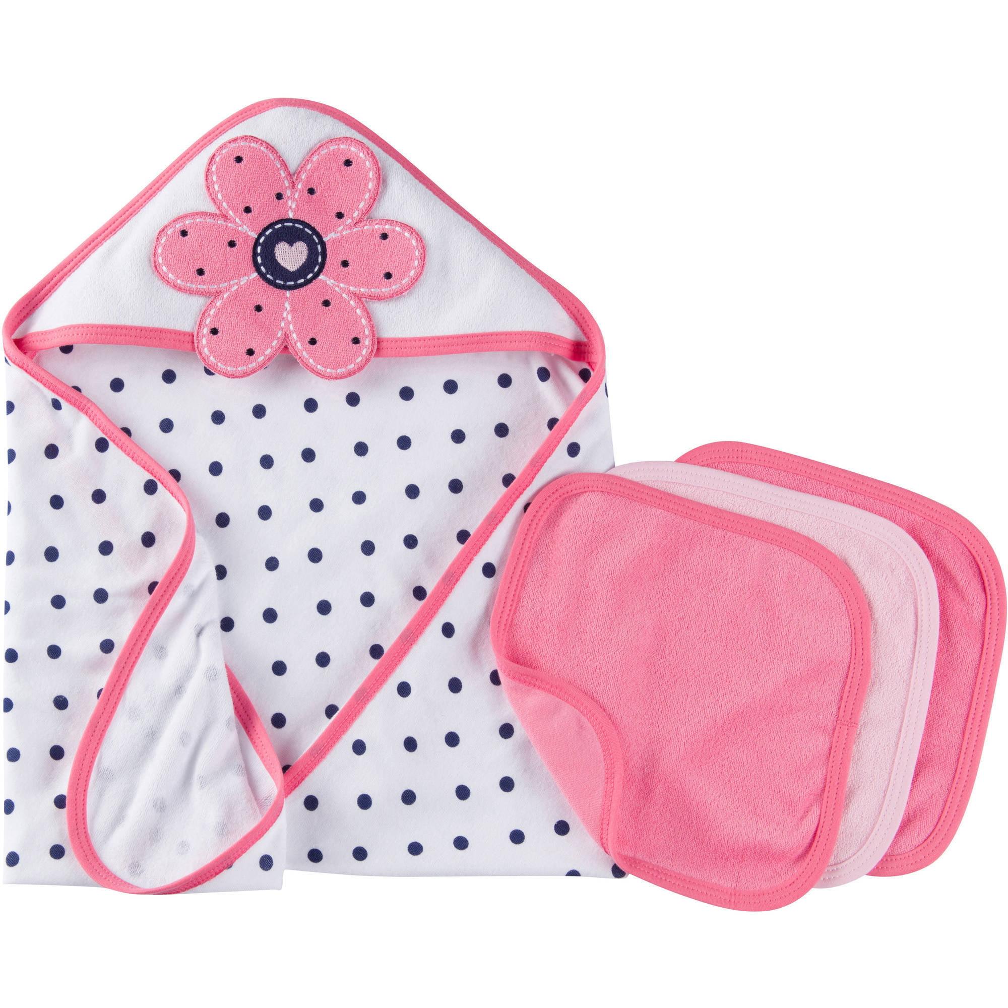 Gerber Newborn Baby Girl Towel and Washcloths Bath Essentials 4-Piece Gift Set