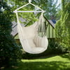 Large Hammock Chair Swing, Relax Hanging Rope Swing Chair with Detachable Metal Support Bar & Two Seat Cushions, Cotton Hammock Chair Swing Seat for Yard Bedroom Patio Porch Indoor Outdoor, B999