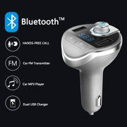 Bluetooth FM Transmitter,Auchen (Upgraded Version) USB Wireless in-Car FM Transmitter MP3 Player- Universal Car Charger with Dual USB Charging Ports,Hands Free Calling for All Smartphones? Blue