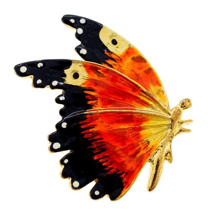 Orange Enamel Flying Butterfly Pin Brooch
