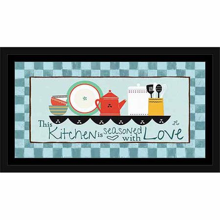 Seasoned Kitchen Vector Illustrated Shelf on Checker Pattern Painting Blue, Framed Canvas Art by Pied Piper Creative