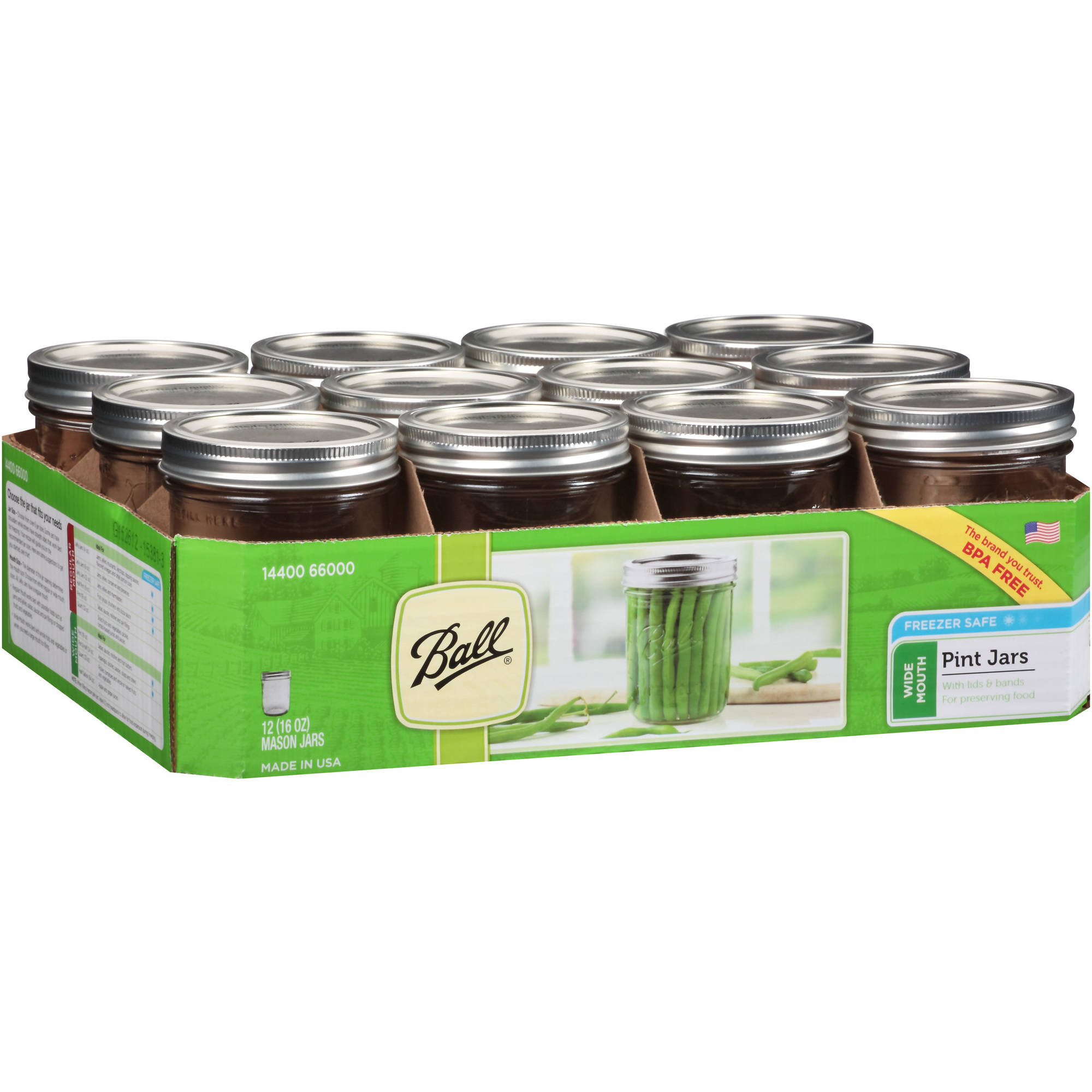 Ball Wide Mouth Pint Jars, 12 count
