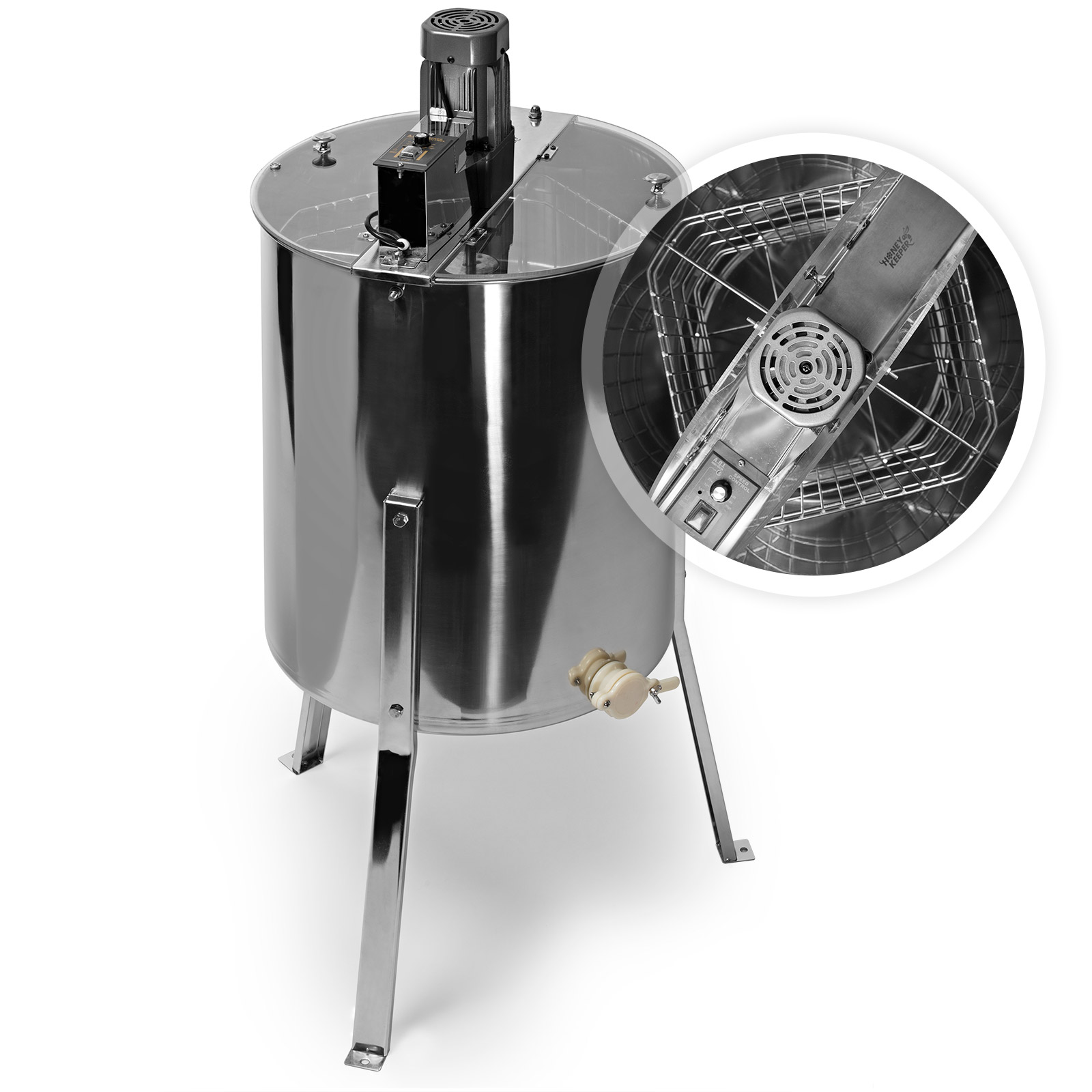 Honey Keeper Pro Electric 4 Four Frame Stainless Steel Honey Extractor Beekeeping Equipment Honeycomb Drum