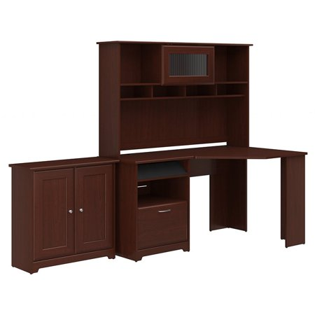 cabot corner desk with hutch and small storage cabinet in cherry. Black Bedroom Furniture Sets. Home Design Ideas
