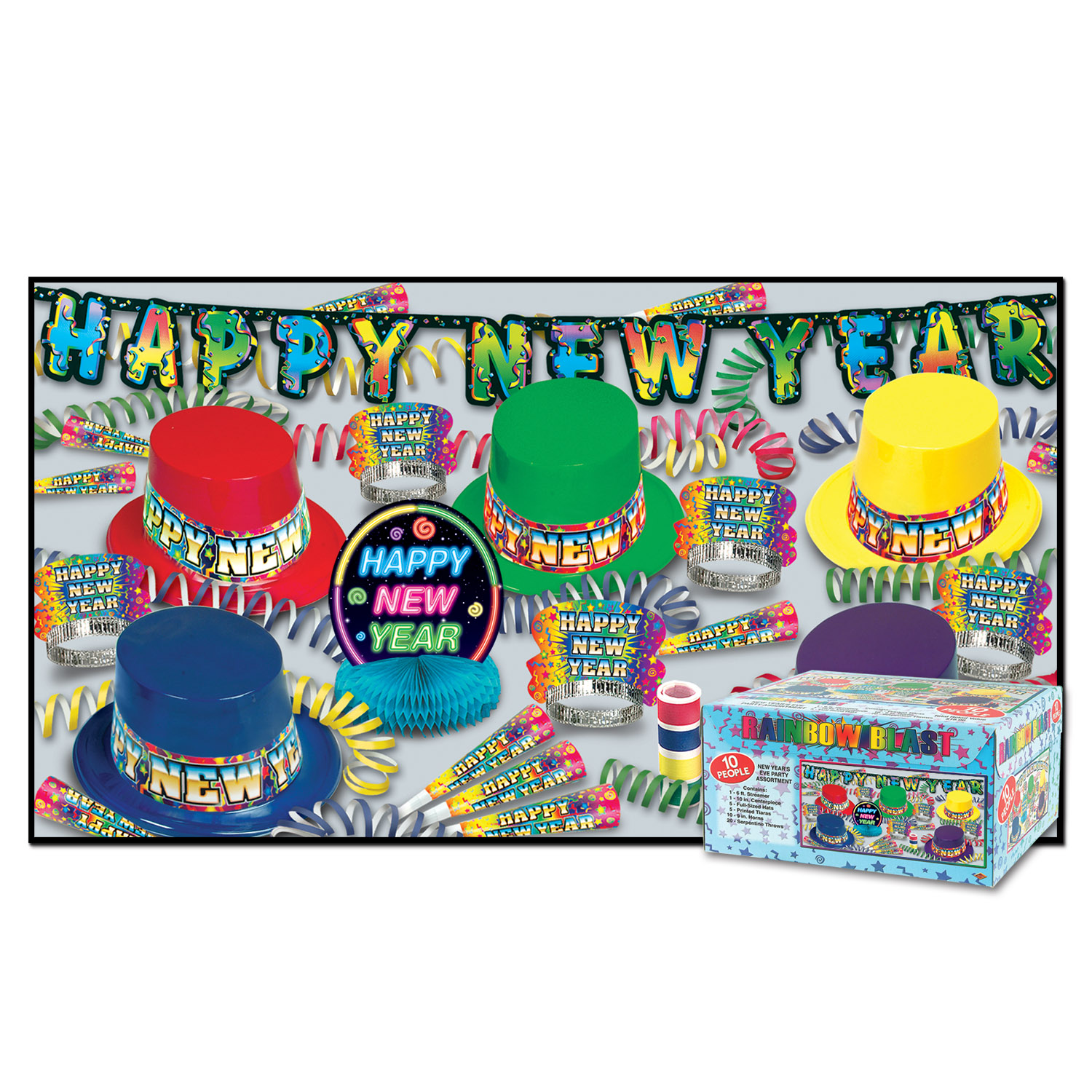 Rainbow Blast New Year's Eve Party Kit for 10 People ...