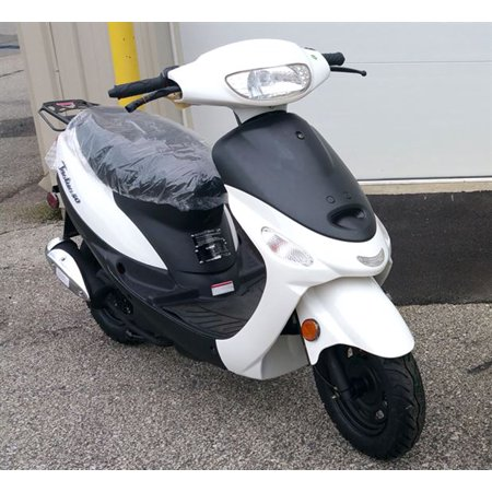 White TAOTAO ATM50-A1 50cc Moped Scooter with 10