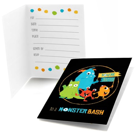 Monster Bash - Fill In Little Monster Birthday Party or Baby Shower Invitations (8 count)