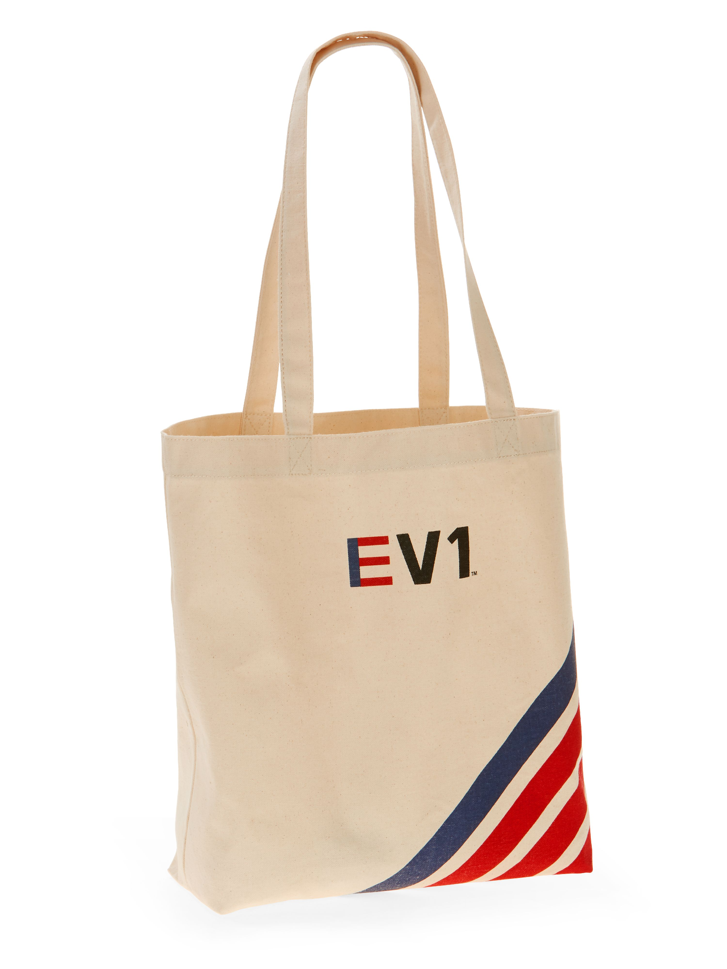 EV1 Striped Graphic Canvas Market Tote
