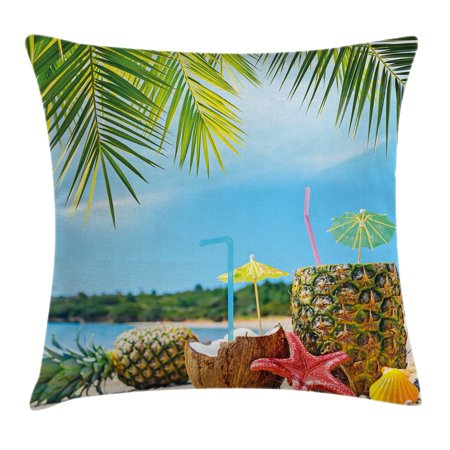 Tropical Throw Pillow Cushion Cover, Fresh Summer Fruits Coconut and Pineapple Drinks at Exotic Beach Palm Trees, Decorative Square Accent Pillow Case, 18 X 18 Inches, Blue Green Brown, by Ambesonne (Decorative Pineapple)