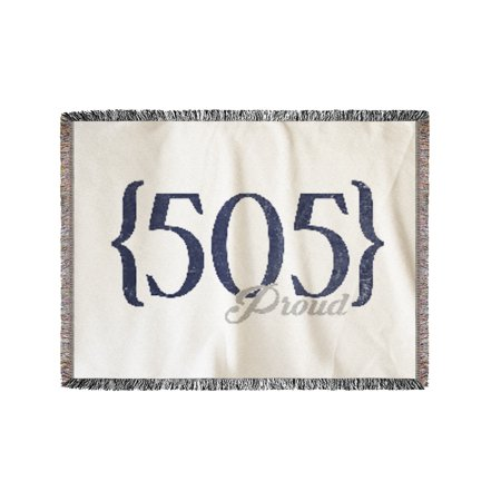 Las Cruces, New Mexico - 505 Area Code (Blue) - Lantern Press Artwork  (60x80 Woven Chenille Yarn Blanket)